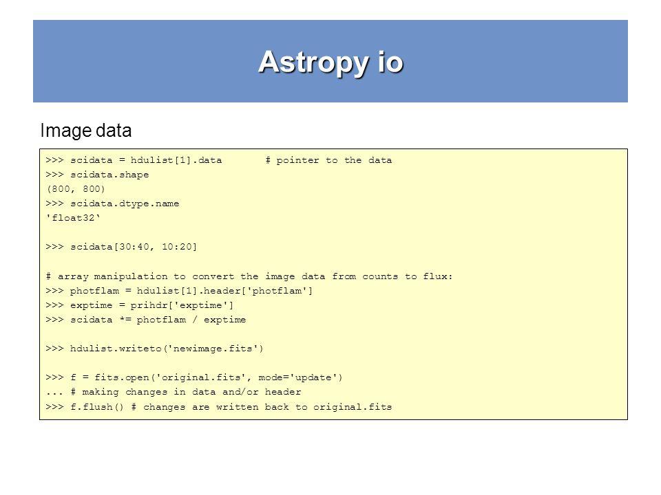 Astropy io Image data. >>> scidata = hdulist[1].data # pointer to the data. >>> scidata.shape.